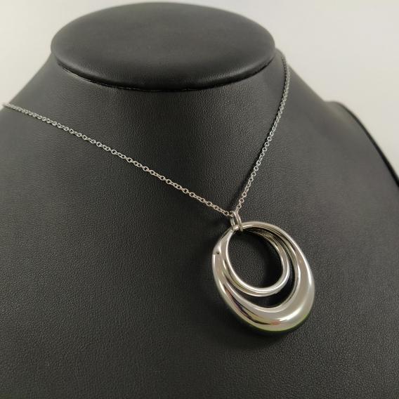 Colgantes de moda para mujer cadenilla color plata de acero inoxidable original