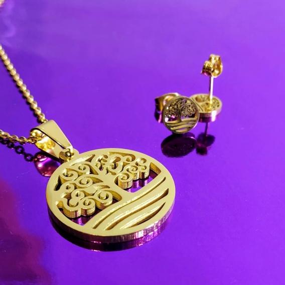 Conjunto de collar del arbol de la vida y pendientes a juego de moda para regalar mujer cadenilla