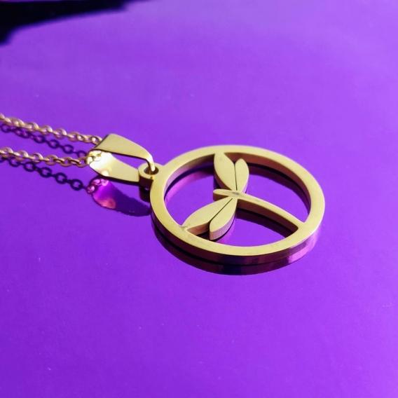 Colgantes de libelula color oro de Acero inoxidable moderno Boho Chic Mujer Fashion