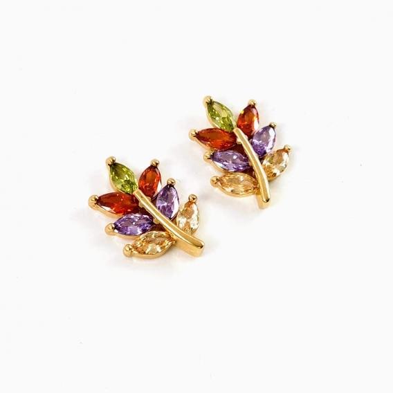 Pendientes de hojas ramillete dorados de moda para mujer cristales de colore Original Para regalos