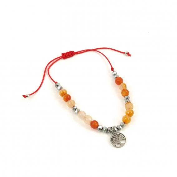 Pulsera del arbol de la vida naranja de piedras ajustable Original Moda Fashion