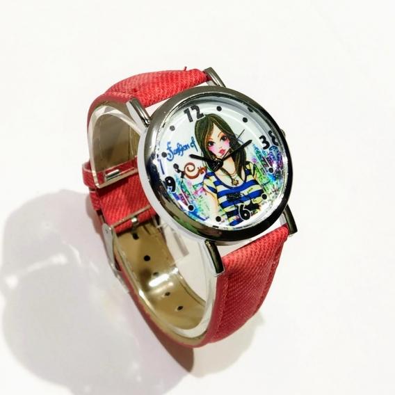Reloj para mujer con dibujo de chica fashion cute para regalar color rojo vaquero