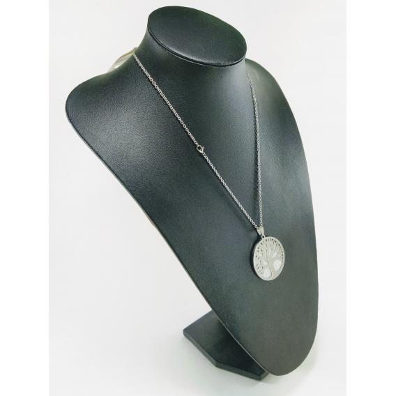 Collar maxi para mujer de moda colgante del arbol de la vida de acero plateado para mujer de moda bisuteria de moda