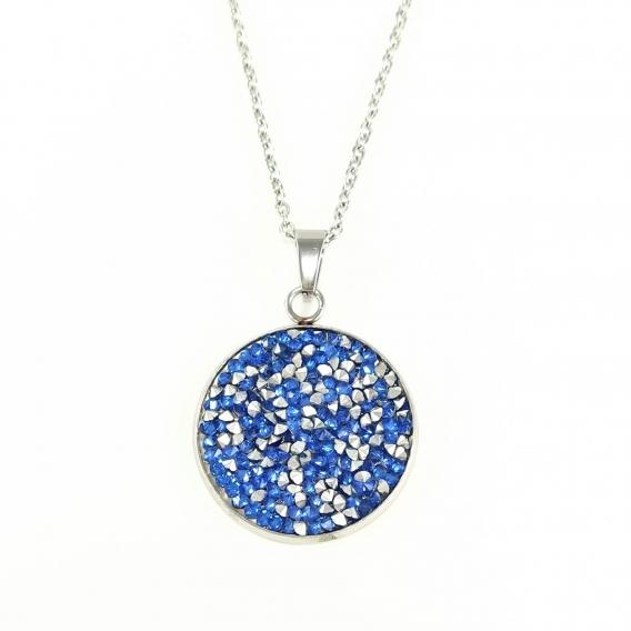 Colgante de brillantes azul collar de moda original colores vintage retro femina