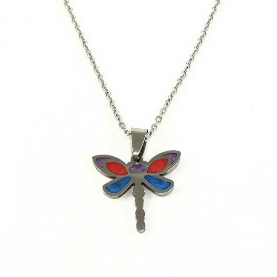Colgante de libelula de acero lacado pequeño para mujer de moda collar regalos originales pequeños