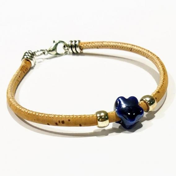 Pulsera para mujer con abalorio de cerámica corcho 19cm brazalete colgante joya color azul