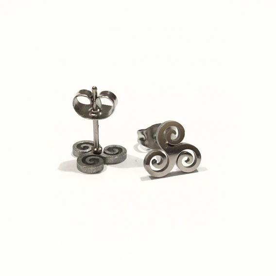 Pendientes para mujer espiral celta amuleto de la suerte color plata acero inoxidable tendencia