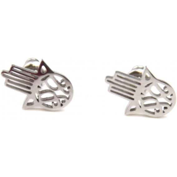 Pendientes para mujer de mano de fatima de acero inoxidable color plata originales