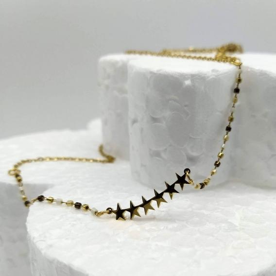 Collar-gargantilla de estrellas para mujer, material acero.