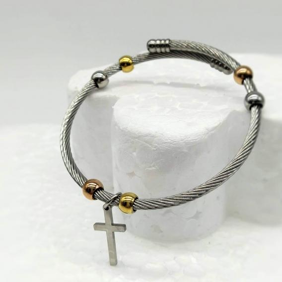 Pulsera para mujer de acero inoxidable con colgante de la cruz..