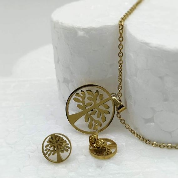 Conjunto de collar y pendientes de árbol de la vida de acero inoxidable para mujer de moda .