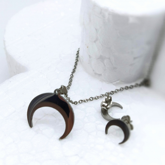 Conjunto para mujer, collar y pendientes de la luna invertida en plateado, acero inoxidable.