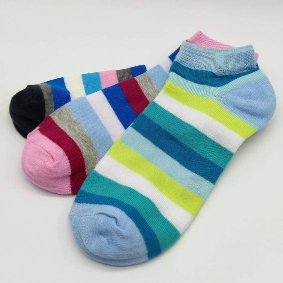 Calcetines de rayas tobilleros, 3 pares. Talla 35-40.