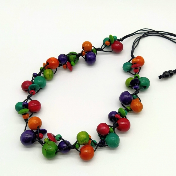 Collar largo para mujer de madera no pesa, de colores hawaiano ajustable . Diseño creativo para regalar.