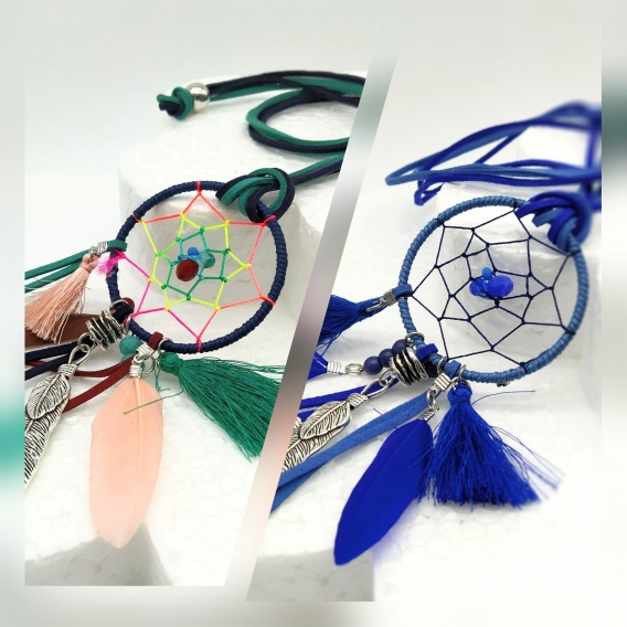 Decoración, atrapasueños o captura de sueños con plumas, adorno y colgante de pared. Regalo estilo Boho.