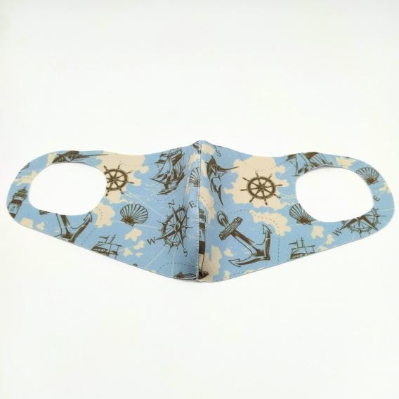 Mascarillas lavable para mujer, tonos azules, diseño de moda.