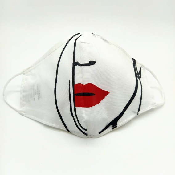 Mascarilla facial unisex de tela lavable reutilizable higiénica con original diseño, apertura para cambiar el filtro.