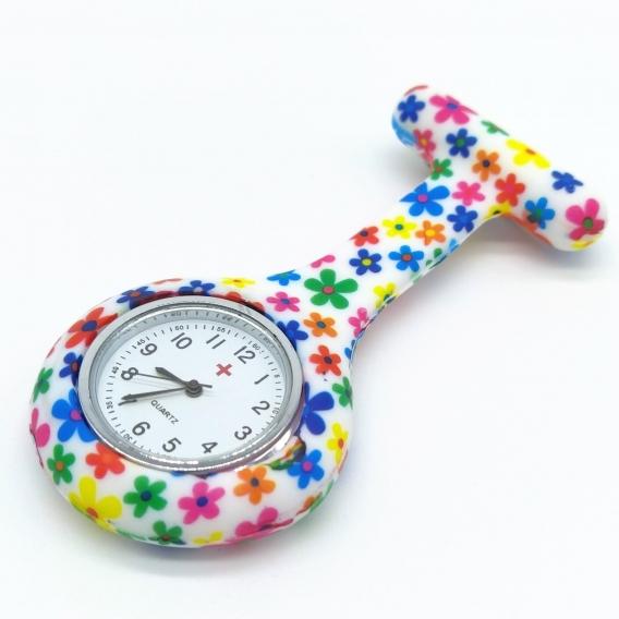 Reloj para bata moderno y ligero de enfermera, asistente, profesora, imperdible de silicona y colores moda con pila
