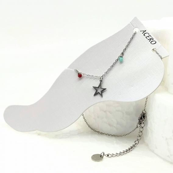 Tobillera para mujer color plata colgantes de abalorios ajustable con estrella de colores original moda acero inoxidable