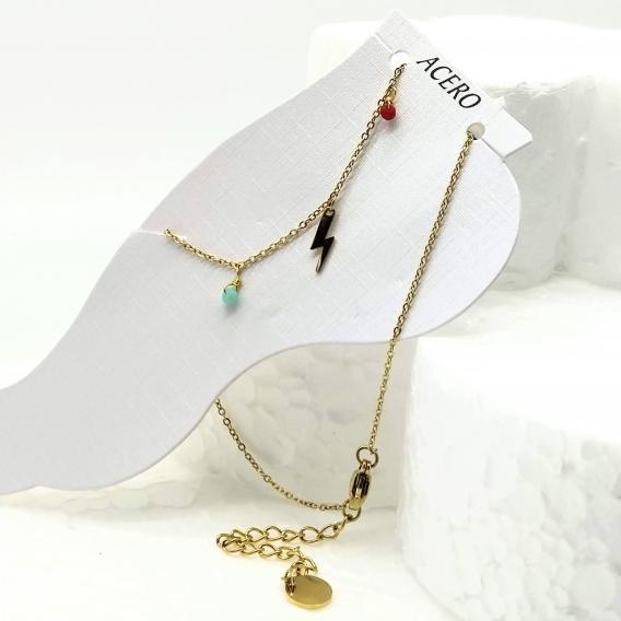 Pulsera para tobillo de mujer original acero con abalorios de colores original de joyas moda 2020