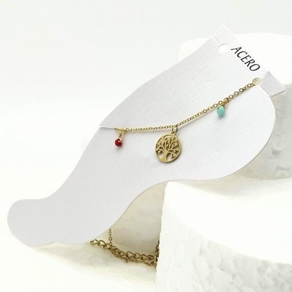 Tobillera para mujer moda del arbol vida color oro de acero inoxidable original regalo bisuteria y joyeria