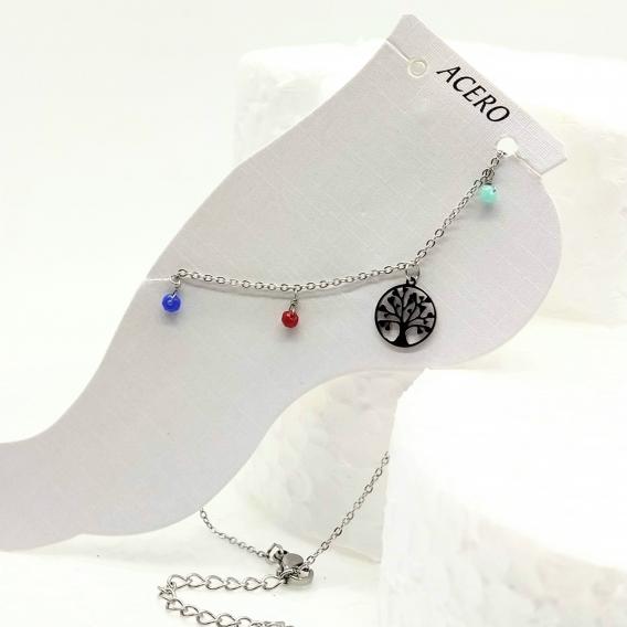 Tobillera para mujer moda del arbol vida color plata antialergia de acero inoxidable original moda