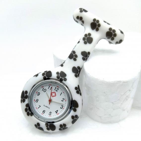 Reloj de enfermera hombre y mujer con huella gato colores silicona medico para bolsillo y bata limpieza