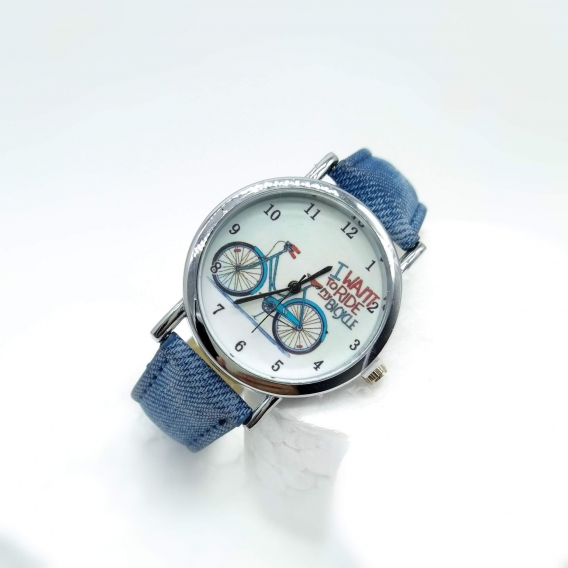 Reloj analógico 2020 para mujer de bicicleta azul, un regalo original.