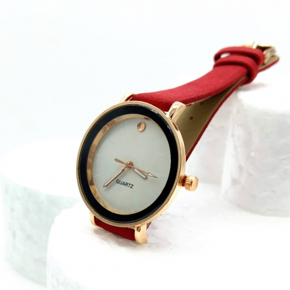 Reloj elegante rojo de pulsera analógico para mujer, regalo de moda.