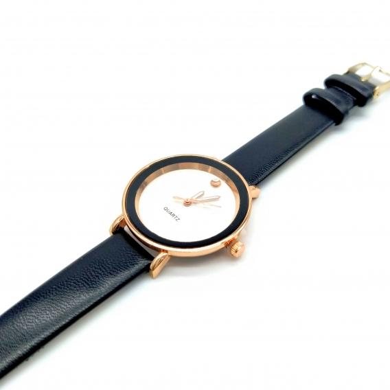 Reloj elegante negro de pulsera analógico para mujer, regalo de moda.