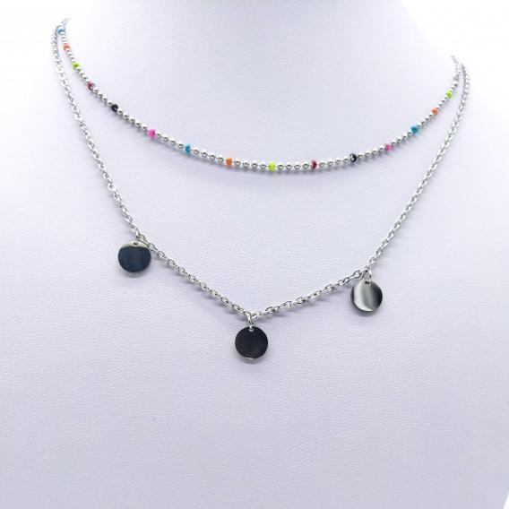 Collar doble Boho con medalla para mujer de acero inoxidable color plata, joya de moda para regalo.