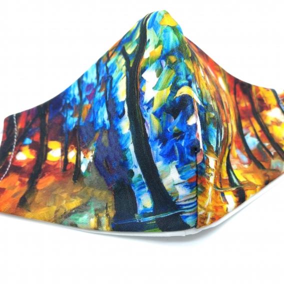Mascarilla reutilizable facial de tela con un originales diseños, lavable con apertura para cambiar el filtro.