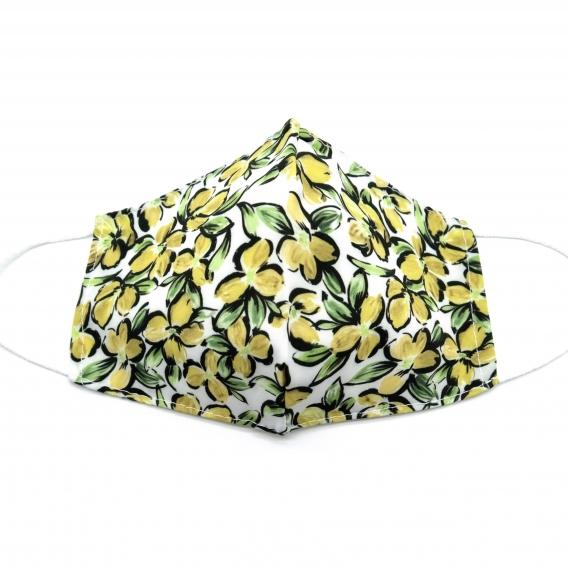 Mascarilla para adulto reutilizable facial de tela diseño divertido con flores, lavable con apertura filtro.