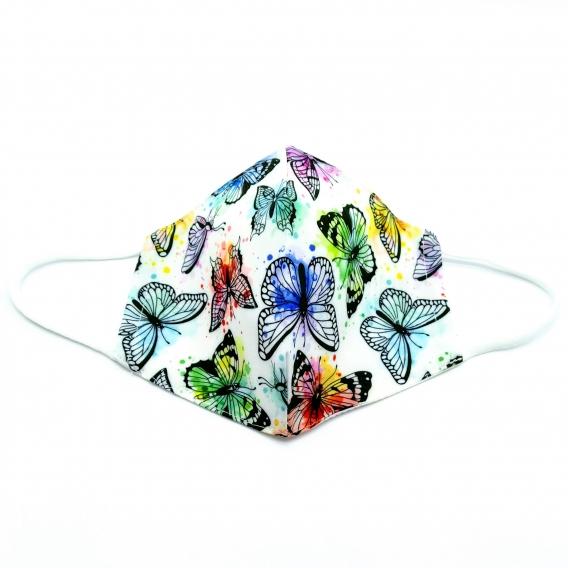 Mascarilla para adulto reutilizable facial de tela diseño divertido con mariposas lavable con apertura filtro.