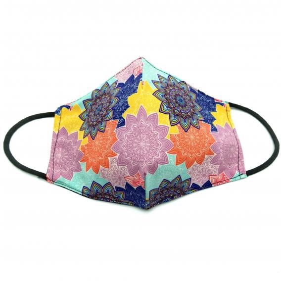 Mascarilla para adulto reutilizable facial de tela diseño divertido de colores, lavable con apertura para filtro.