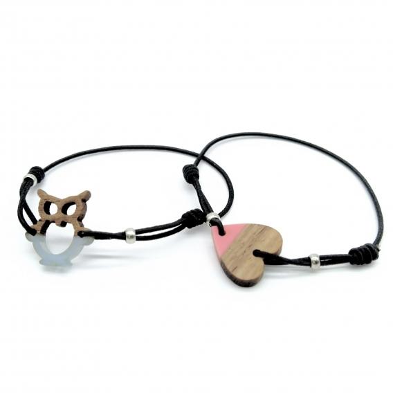 Pulsera de corazón y búho para niña y mujer un regalo original.