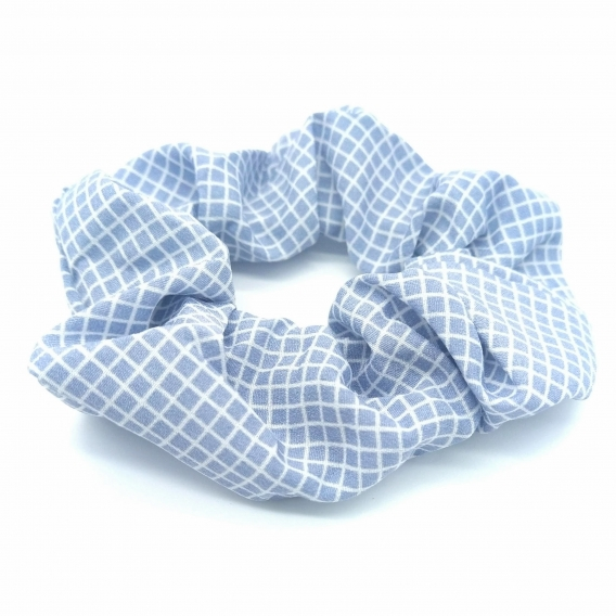 Coletero para mujer un regalo original de tela con cuadros de color azul, scrunchies.