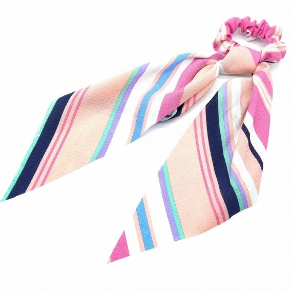 Cinta elástica para mujer de pelo a rallas de tono rosa para regalo.