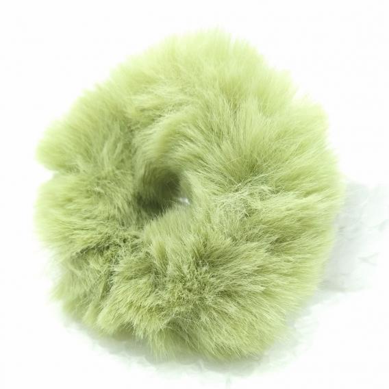 Coletero con pelo artificial verde para mujer, 2 accesorios.