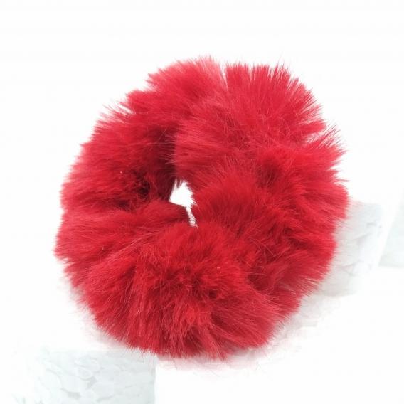 Gomitas de pelo efecto peluche rojo, accesorio para mujer.