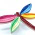 Broche de papel con diseño de libélula multicolor, accesorio de moda.