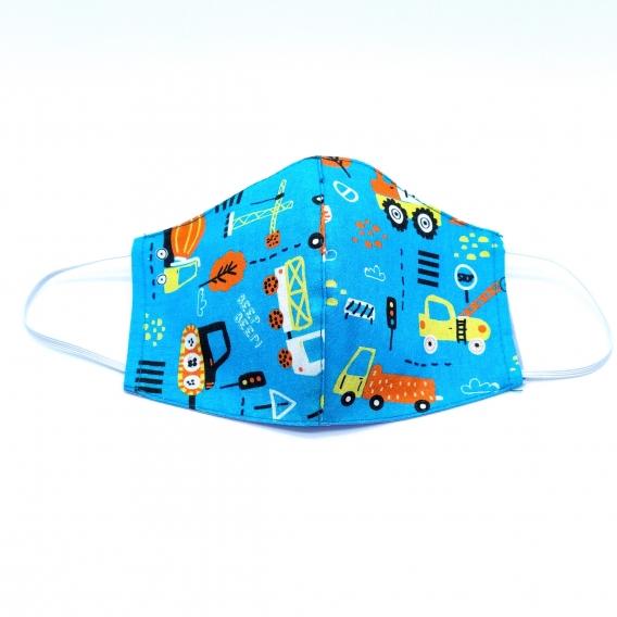 Mascarilla facial con dibujos de coches para niño y niña de tela lavable reutilizable con original diseño, apertura para filtro.