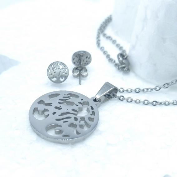 Conjunto de collar y pendientes de árbol de la vida de acero inoxidable para mujer, color plata.