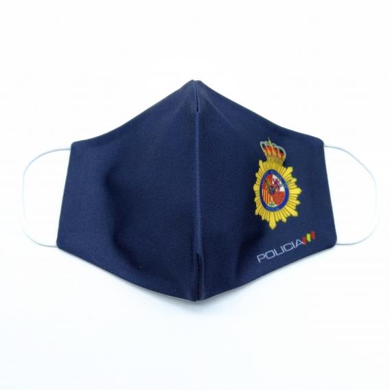 Mascarilla azul para adulto con el emblema de policía, facial de tela lavable.