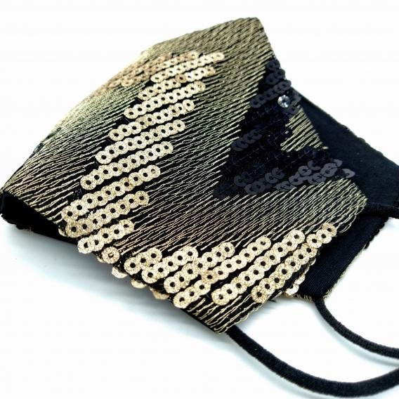Mascarilla de mujer para fiesta negra y dorada de tela con lentejuelas reutilizable