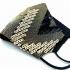 Mascarilla de mujer para fiesta negra y dorada de tela, reutilizable lavable con apertura para filtro, accesorio de moda.
