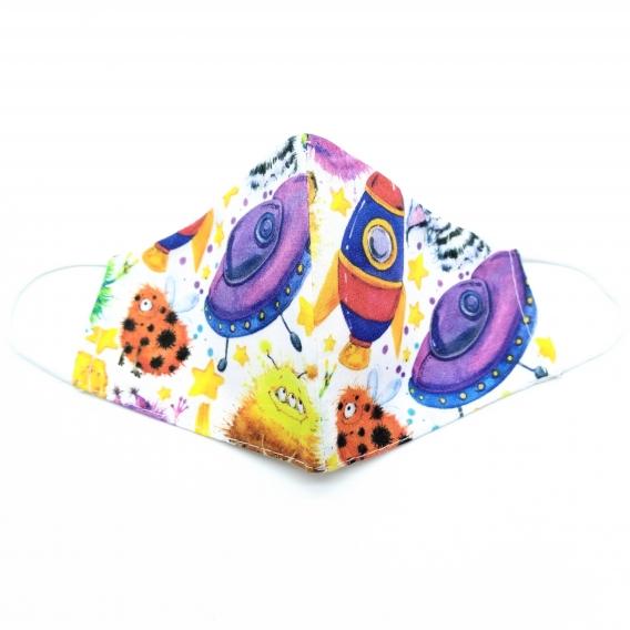 Mascarilla infantil facial, tamaño pequeño de tela con dibujos espaciales de colorines, lavable y con apertura de filtro.