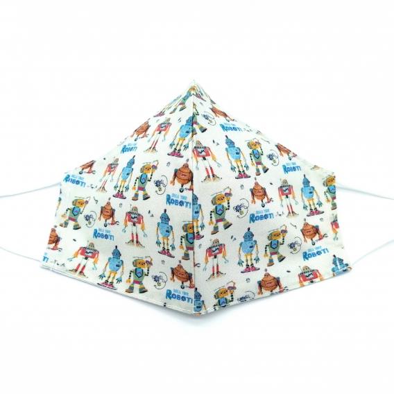 Mascarilla infantil para niña y niño, lavable y reutilizable con apertura de filtro, dibujos de robot.