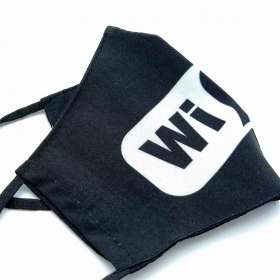 Mascarilla lavable para hombre y mujer, de color negro y blanco WIFI, con apertura para filtro.