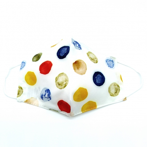 Mascarilla facial de mujer, diseño de puntos de colorines, lavable, reutilizable y con apertura para filtro.